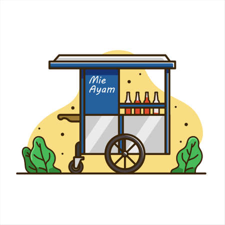 illustration of chicken noodle cart, Cart food illustration. cart indonesia isolated vector