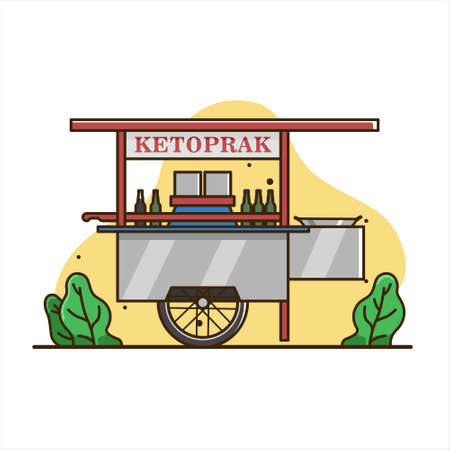ketoprak cart illustration, traditional street food, cart vector. indonesia cart food isolated vector