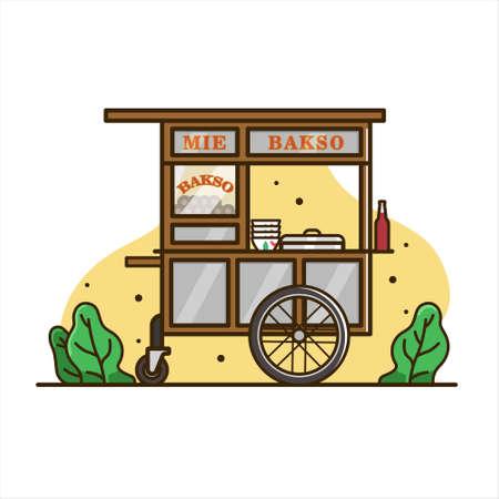 Fleischbällchen-Nudel-Wagenillustration, Warenkorb-Lebensmittelvektor. indonesisches Karrenessen. isolierter Warenkorb Vektor Vektorgrafik