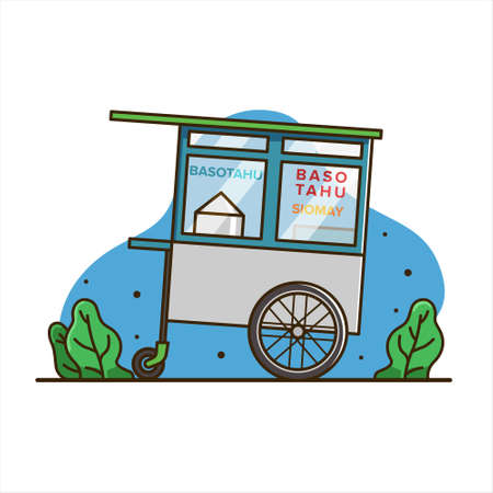 tofu meatball cart illustration, cart food vector. indonesia cart food vector. isolated cart vector