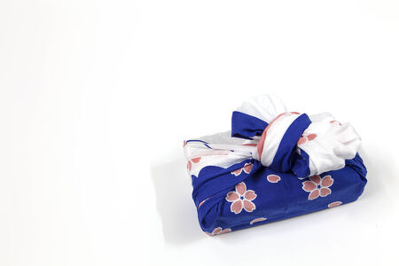 green day baby blue background: Japanese fabric gift boxes made ​​and very beautiful  Stock Photo