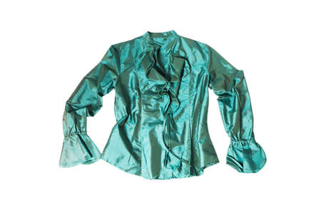 'rig out': green silk blouse isolated on white