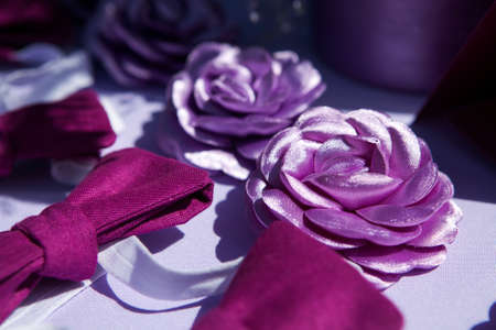 odd jobs: brooch handmade silk ribbons in the form of a violet  flower and bow tie at the wedding reception