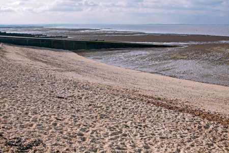 groynes on the shingle beach at whitstable kent Stock Photo
