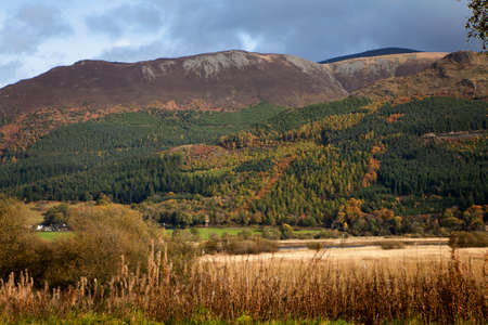 cumbria: Autumn in Cumbria with mountains and meadows