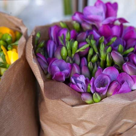 freesia: Beautiful freesia flowers bouquet Stock Photo