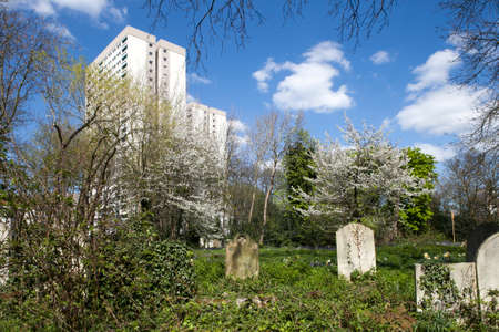 hamlets: LONDON, UNITED KINGDOM - April 25: Pet graveyard in London on April 25, 2015. Tower Hamlets Cemetery Park near modern building Editorial