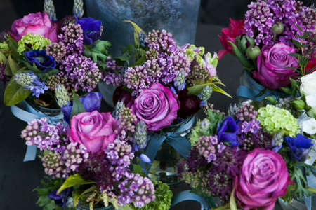 Beautiful bouquet of  rose, lilac and Astrantia flower Stock Photo