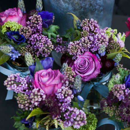 aspidistra: Beautiful bouquet of  rose, lilac and Astrantia flower Stock Photo