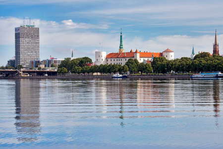 thoroughly: RIGA LATVIA 09 22 2015: Riga Castle is a castle on the banks of River Daugava in Riga,The castle was founded in 1330. This structure was thoroughly rebuilt between 1497 and 1515.