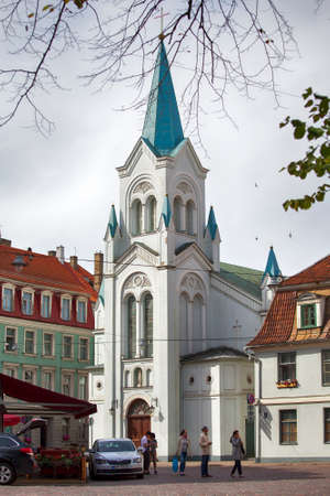our lady of sorrows: Riga, Latvia - April 29, 2016: The center of Riga, capital of Latvia. Our Lady of Sorrows Church, Riga