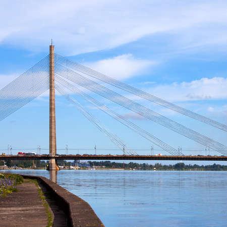 RIGA, LATVIA - Vansu Bridge (1981, former Gorky Bridge) over Daugava River in Riga, Latvia. One of five big bridges in Riga and the only cable-stayed Stock Photo