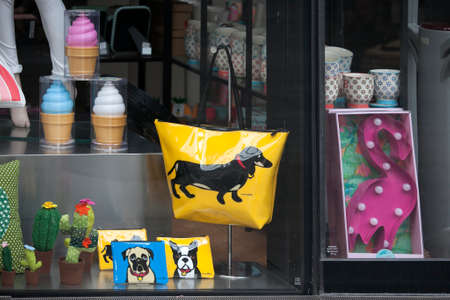 shop for animals: London, UK - July 17, 2016. storefront with funny colored bags with leatherette