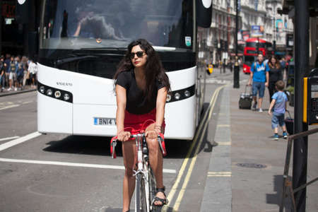 piccadilly: London, UK - July 17, 2016. Traffic scene at Piccadilly Circus - London, England Editorial