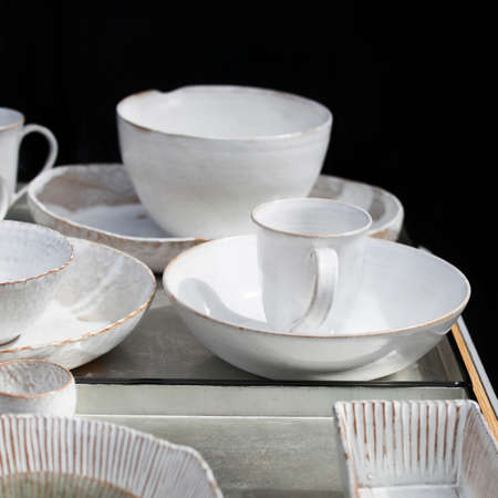 white cups and saucers handmade