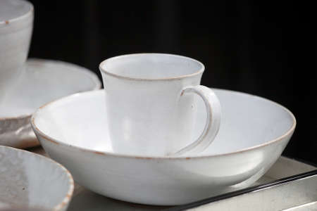 fireclay: white cups and saucers handmade