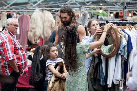 Jason Momoa, is an American actor with his family shopping at the famous antique Spitalfields market , on August 11, 2016 in London UK Editorial