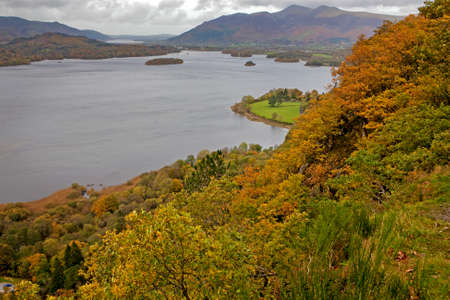 veiw: veiw from a viewpoint high above Derwent Water; Lake District; Cumbria; UK; Stock Photo