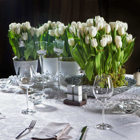 Decoration of the dining table for Valentines Day. White tulip.