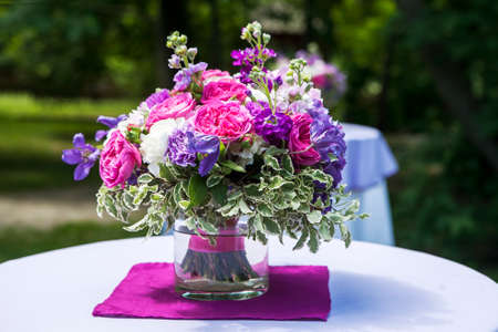 Fine Banquet Table Setting With Bouquet. Selective focus Stock Photo