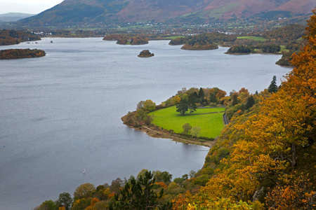 veiw from a viewpoint high above Derwent Water; Lake District; Cumbria; UK; Stock Photo