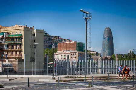 BARCELONA, SPAIN - JULY 7 : Torre Agbar on July 7, 2016 in Barcelona, Spain. 38 storey tower, built in 2005 by famous architecht Jean Nouvel. Its a famous landmark in Barcelona owned by Grupo Agbar