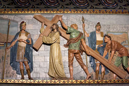 sagrat cor: BARCELONA-JULY 25:The Temple Expiatori del Sagrat Cor on the summit of Mount Tibidabo on July 25, 2016 in Barcelona, Catalonia, Spain. Detail of the interior decoration of the church. Jesus Christ carries the cross to Calvary.