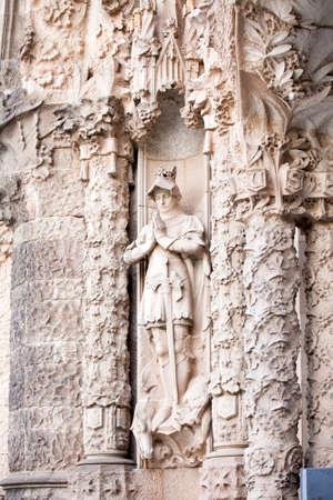 tibidabo: BARCELONA-JULY 25:The Temple Expiatori del Sagrat Cor on the summit of Mount Tibidabo on July 25, 2009 in Barcelona, Catalonia, Spain. statue on the portal