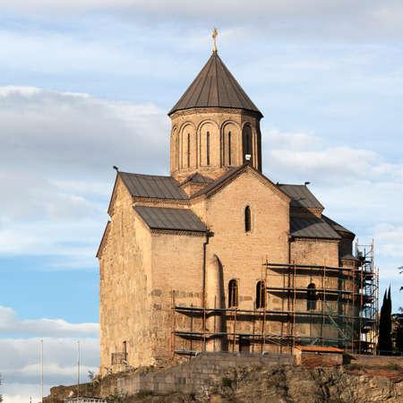 TBILISI, GEORGIA - November 5, 2016: Metekhi Church above the Kura river in Tbilisi, Georgia.