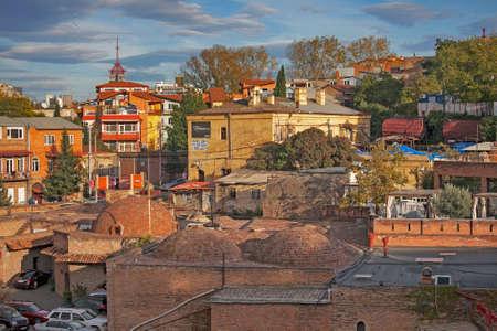 TBILISI, GEORGIA, 16 AUGUST, 2016: Abanotubani is the ancient district of Tbilisi, Georgia, known for its sulfuric baths. Abanotubani is located at the bank of the Mtkvari (Kura) River.
