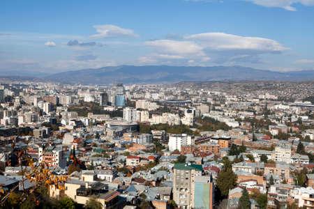 tbilisi: TBILISI, GEORGIA - November 04, 2016 : Tbilisi city center aerial view from the mountain Mtazminda, Tbilisi Georgia