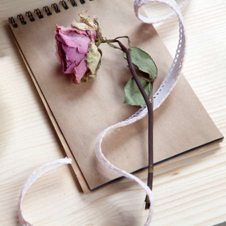 Vintage notebook with a dry pink rose on the table