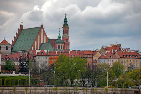WARSAW, POLAND - MAY 01, 2017 Old Town by the river Vistula picturesque scenery in the city of Warsaw, Poland Editorial