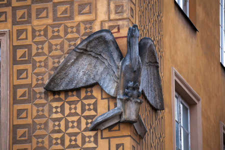 WARSAW, POLAND - MAY 01, 2017, Pelican House (1705) at Castle Square Old Town. Old town in Warsaw is UNESCO World Heritage Site. Editorial
