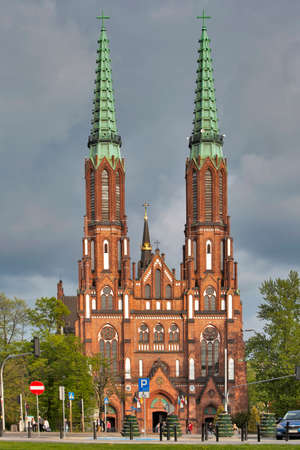 WARSAW, POLAND - MAY 01, 2017, Twin Towered Cathedral of Saint Michael the Archangel and Saint Florian the Martyr in the Praga District of Warsaw