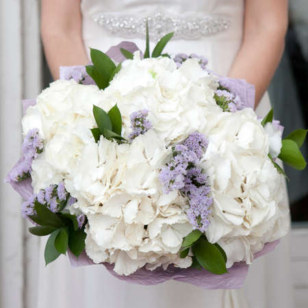 beautiful white blue bridal bouquet