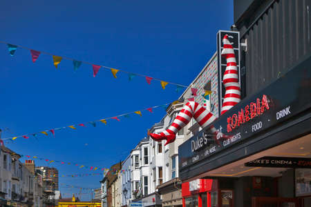 BRIGHTON, GREAT BRITAIN - MAR 01, 2017: The Komedia club and bar incorporating the Dukes picture house cinema in North Laines district Brighton
