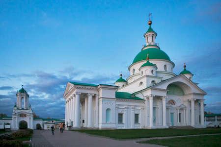 reverent: ROSTOV, Russia - 11 September 2017 , Rostov Veliky. Spasso-Yakovlevsky Monastery on Lake Nero. Golden Ring Editorial