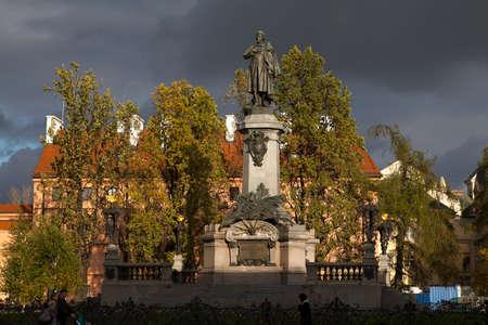 Warsaw, Poland - October 20, 2017 monument of poet Adam Mickiewicz