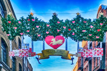 LONDON, ENGLAND - December 18 , 2017 Christmas decoration at Seven dials. Seven Dials is a small road junction in Covent Garden in the West End of London