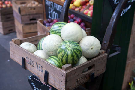 LONDON, ENGLAND - December 18 , 2017 Melon and watermelon for sale on Borough market Redakční