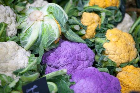 Purple, Green, Orange Cauliflower at the farmers market