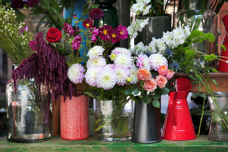 Dahlias, roses, bell, fennel in bouquets for sale