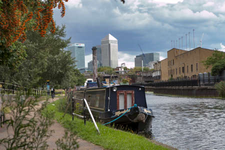 LONDON, ENGLAND - August 11 2017 Riverside view of Canary Wharf