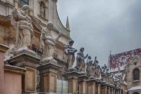 Krakow, Poland - February 12, 2018 Picture of Apostles at Church of St. Peter and Paul in snow in Krakow
