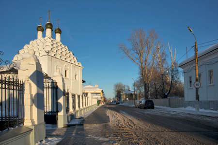 View of Church of St. Nicholas on Posada - Orthodox Old Believers Church at winter day. Architectural style - Russian uzorochie - Moscow uzorochie Stock Photo