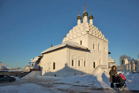 KOLOMNA, RUSSIA - 10 March 2018 View of Church of St. Nicholas on Posada - Orthodox Old Believers Church at winter day. Architectural style - Russian uzorochie - Moscow uzorochie