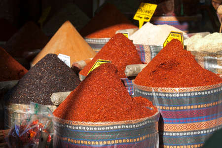 the Bins of dried spices for sale in market
