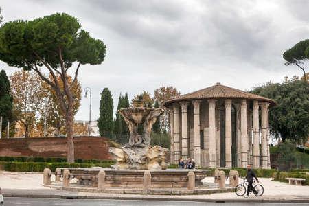 Rome, Italy - November 18, 2017 Circular temple of Hercules Victor formerly Temple of Vesta. Built in 120 BC. Piazza Bocca della Verita, area of Forum Boarium.