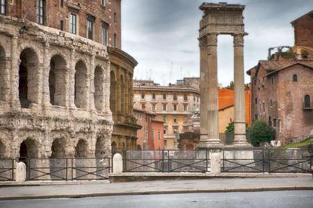 Rome, Italy - November 18, 2017 Theatre of Marcellus and Temple of Apollo Sosianus in Rome - Italy